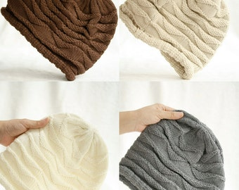 60% OFF( Code: HELLY2016 ) Four colors  Slouchy hat beanie crocheted  Blending knitted hat  Men  Teens   Fall Winter Fashion  Chunky Beret