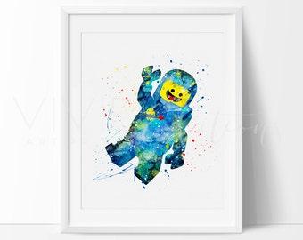 Lego Man Print, Benny Lego Man, Nursery Art Print Wall Decor, Watercolor Painting, Boys Room Wall Art, Baby Shower Gift, Not Framed, No. 251