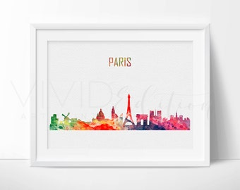 Paris Skyline Cityscape Art Print, France Print, Eiffel Tower Poster, Paris Cityscape, Watercolor Painting, Wall Decor, Not Framed, No. 03