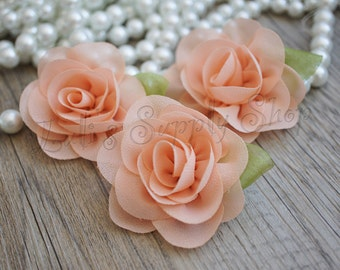 "Petite Peach Chiffon Rose with Leaf - 2.2"" Layered small fabric flower - Headband Supply - Peach Chiffon Roses - Fabric Flowers"