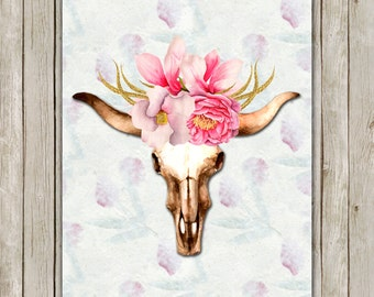 8x10 Watercolor Bull Skull Printable Art, Skull Poster, Boho Animal Print, Floral Art Poster, South Western Wall Art, Instant Download