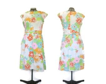 1960s Dress, Vintage Malia Honolulu Dress, Ribbed Cotton Sundress, Floral Dress, Shift Dress, A-Line Dress, Mod Dress, Volup