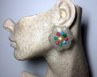 Authentic Christian Dior Vintage 1966 Glass Flower Clip Earrings