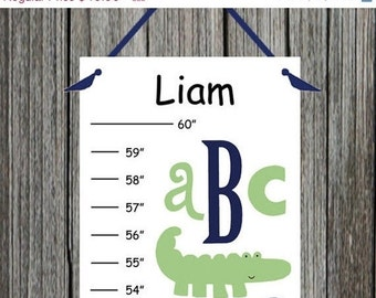 ON SALE Personalized Nantucket Green ABC Alligator Canvas Growth Chart