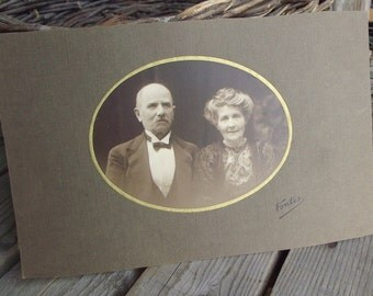 Couple Portrait - Vintage Couple Photo - Antique Couple Picture - Cabinet Photography - French Lovers - Black White Pic - Art Craft Supplies
