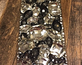 IPhone 6 cell phone case, blinged out cell case, black and clear gems, birthday gifts,  gifts,