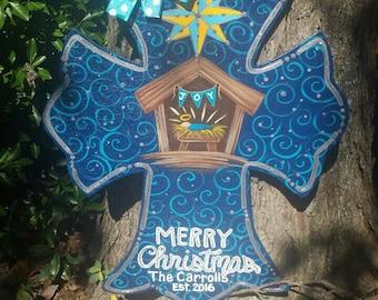 Nativity cross door hanger.......28 X 22 inches