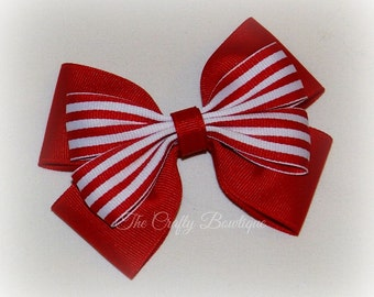 Red & White Bow ~ Red Ponytail Bow ~ Red Striped Bow ~ Large Boutique Bow ~ Red Valentine Bow ~Red Hair Bow ~ Red Headband Bow ~ Layered Bow