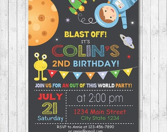 Astronaut Invitation, Astronaut Invite, Astronaut Birthday, Space Invitation, Out of this world party, DIY, Digital Printable Invitation