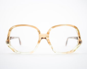 Vintage Eyeglass Frame | Clear Honey Amber | Round Glasses | 70s Deadstock  - Colossal Pecan