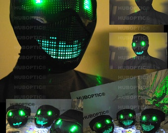 Robot Mask - Green Eyes Electric Bot / Light Up Mask LED Mask Rave Mask for DJ Gigs Scifi Head Scifi Glow Cosplay Costume Halloween Party