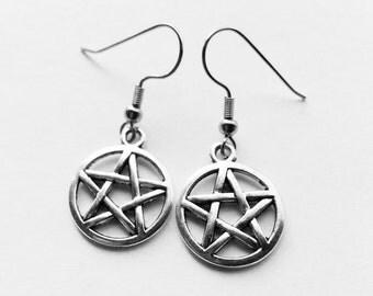 Silver pentagram earrings/ pentacle  earrings/Supernatural /Charmed /Wiccan/Witch/ .925 Sterling Silver