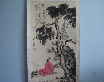 Excellent old Chinese Scroll Painting By Zhang Daqian :Scholar H15