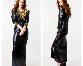 Vintage Sequined Party Dress/ Sequined Evening Gown/ Great Gatsby Sequined Dress