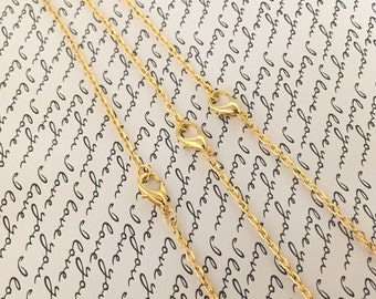 3 ~ Ready Made Gold Necklace Chains, 2 mm Wide 74 cm Long Vintage Gold Jewelry Supplies