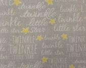 One Half Yard of Fabric Material - Twinkle, Twinkle, Medium Grey