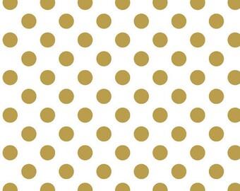 Riley Blake Designs - 2015 Sparkle Pearlized Gold Medium Dot - Pattern SC430-52  - Cotton Fabric