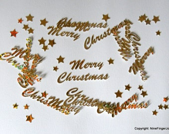 10 Die Cut Happy Holidays, Die Cut Merry Christmas, Card Making Accessories, Paper Craft Embellishments, Die Cut Shapes, Scrapbooking Supply