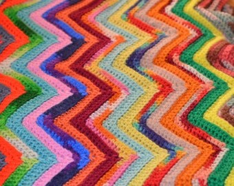 Vintage handmade crochet quilt, rainbow of zigzags