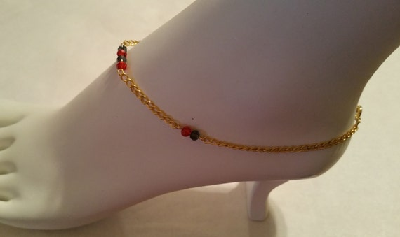 Gold crystal ankle bracelet, crystal earrings, red and black ankle bracelet, handmade jewelry set, fashion jewelry, red and black earrings