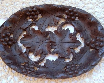 Vintage Handcarved Wooden Fruit Tray with Grapes Inlay/Fruit Bowl/ Home Decor/1960's