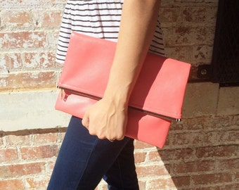 Vegan Bright Coral Leather Foldover Clutch - Gift for her, Birthday, Anniversary, Bridesmaid