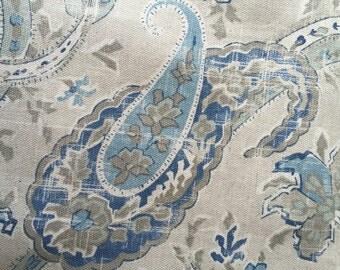 "Paisley Fabric  Blue, Taupe , Ecru 1.3 Yards X 54""Home Decor Pillows Totes Richloom ""Mason"""
