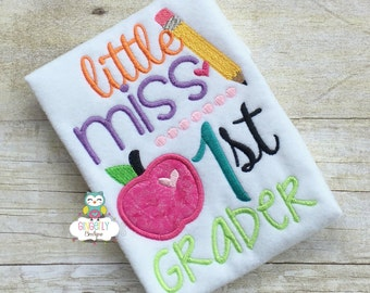Little Miss 1st Grader Shirt, Girl Back to School Shirt, First Day of School Shirt, Miss School Shirt, Girl School Shirt, Little Miss School