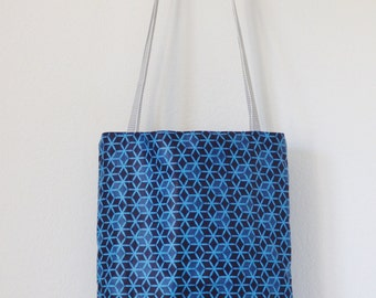 Reversible blue african fabric tote bag, ethnic bag, eco friendly fabric bag, book bag, hobo bag, boho shoulder bag, market tote, floral bag