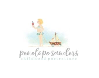 Watercolor Logo - OOAK - Children, Drawn, Artistic, Kids, Newborn Logo, OOAK, drawing - Beach - Child - Pink, Photography, Sea, Boat