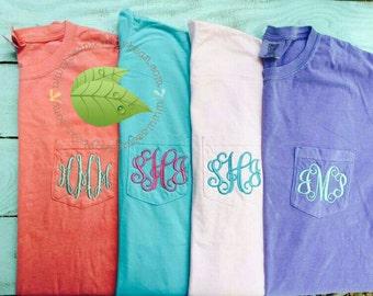 Comfort Colors 6030 Pocket Tee, Personalized Pocket T-Shirt, Monogrammed short-sleeved comfort colors pocket tee