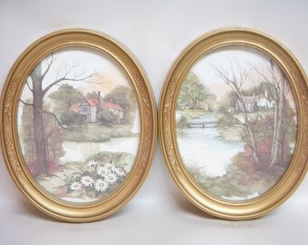RUSTIC PICTURE FRAMES Oval Rural Scenery