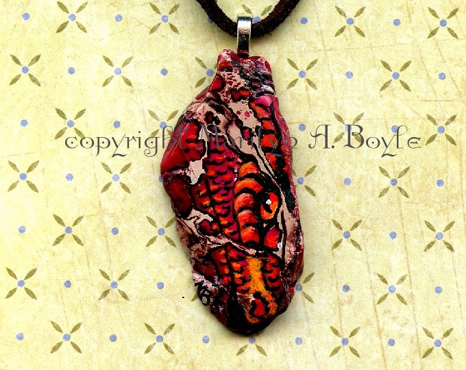 PENDANT-DRAGON - HAND Painted; jewelry, necklace, original art, wearable art, dragon wing, 16 inch leather cord,