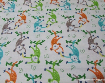 Flannel Fabric - Monkeys and Bananas - 1 yard - 100% Cotton Flannel