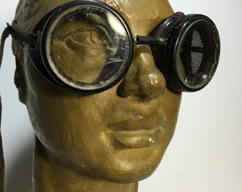 Steampunk Goggles! Vintage industrial Motorcycle Saftey Glasses! Wilson USA