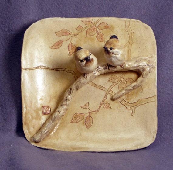 Handmade Ceramic Wall Art Decor Ceramic Birds Love Birds