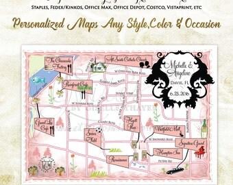 Custom Wedding Maps, destination wedding, personalized maps, save the date wedding map, personalized maps. ANY Location. {Digital Only!}