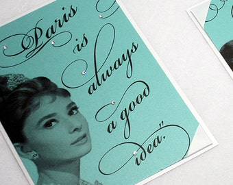 Paris is always a good idea, Audrey Hepburn quote, handmade party signs, favor. LAST in stock!  Item is being DISCONTINUED.