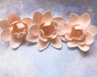 Lotus Flowers ~ Sugar Flowers ~ Cake Toppers ~ Set of 3 ~ Wedding Cakes ~ Lotus ~ Pearls ~ Gum Paste Lotus