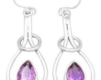 Natural Amethyst Gemstone Earrings 925 Sterling Silver Jewelry IE21156