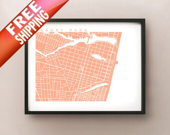 Asbury Park, New Jersey Map Print