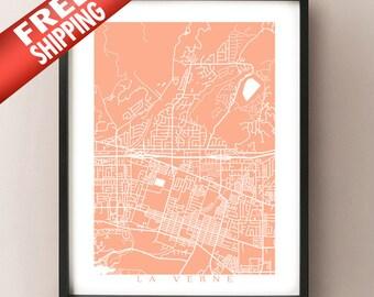 La Verne Map - California Poster Print
