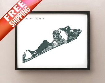 Montauk Map Print - New York Poster