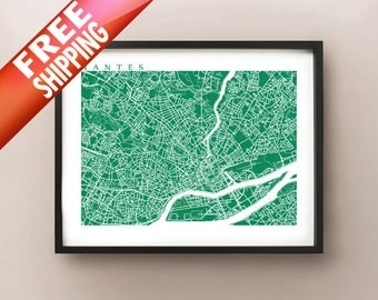 Nantes Map Art - France Poster Print