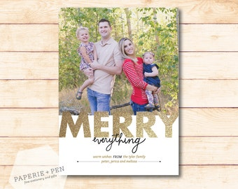 Merry Everything Glitter  // Holiday Photo Card