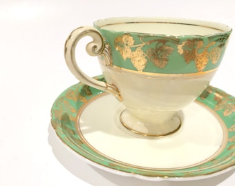 Shelley Tea Cup and Saucer, Green Band Grapevine Cup, English Bone China Tea Cup, Shelley China,Tea Set, Antique Tea Cups, Ivory Green Cups