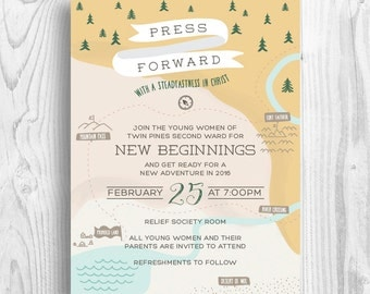 LDS Evening of Excellence map invitation - 2016  YW theme Press forward with a steadfastness in Christ