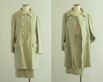 vintage 1950s coat set / wool houndstooth jacket / medium / Jane Hunter Coat Set