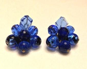 Vintage Hattie Carnegie Blue Art Glass & Dichronic Glass Earrings- Fabulous!