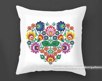 Flowers cross stitch pattern PDF,  Pillow cross stitch, Polish, Modern cross stitch, Floral ornament, Floral cross stitch, Floral heart